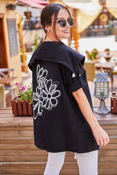 armonika Kadın Siyah Sirti Çiçek Baskili Mevsimlik Ceket ARM-20K024030