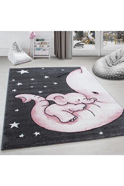 AYYILDIZ Çocuk Halısı Fil Ve Yıldız Desenli Gri-pembe-beyaz