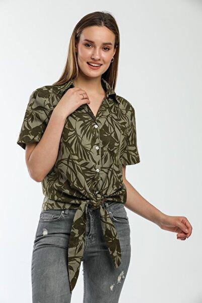 MODARC Kadın Pamuk Keten Haki Çiçek Desenli Apaş Yaka Crop Bağlamalı Gömlek