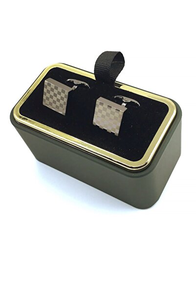Kravatkolik Füme Renk Kare Kol Düğmesi Kd1287