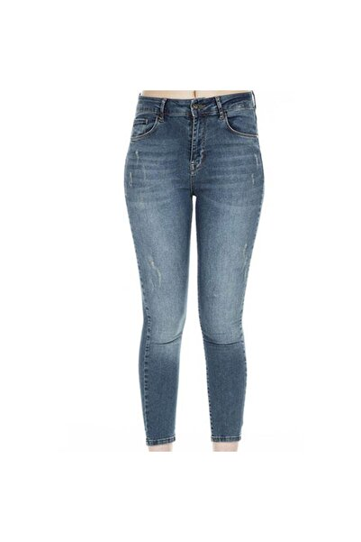 Five Pocket Sandra Kadın Mavi Jean Pantolon 8523-f693
