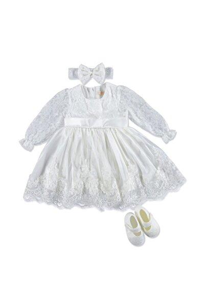 PUGİ Kolları Dantelli Güpürlü Kız Bebek Mevlüt Kıyafeti