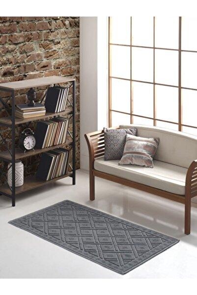 Sesli Home Pamuklu Kabartmalı Bukle Kilim 120x180 Gri Ekose & Bukle Halı & Kilim