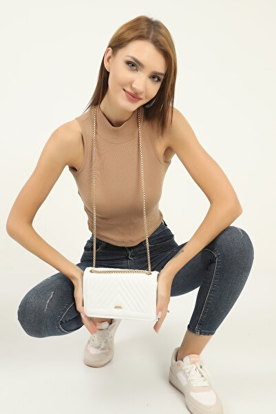 mx modex Beyaz Kadın Dikişli Kumaş Zincir Detaylı Omuz Çantası