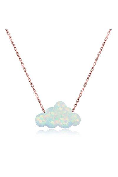 Gumush Gümüş Beyaz Opal Taş Bulut Kolye