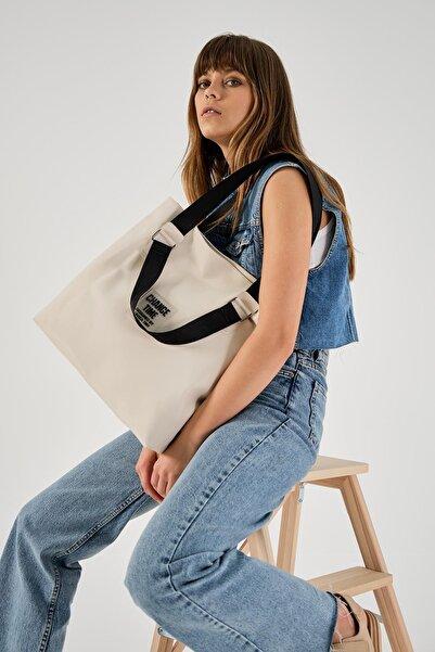 Shule Bags Patlı Kadın Omuz Shopper Çanta Vicky Krem