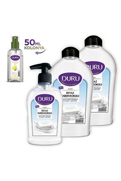 Duru Beyaz Sabun Kokulu Sıvı Sabun 1,5+1,5+300ml Ve 50ml Kolonya Hediyeli