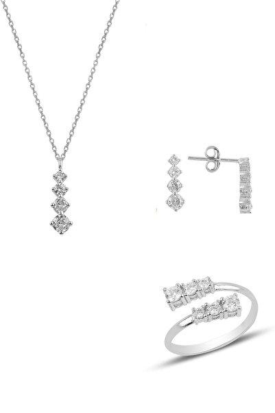 Söğütlü Silver Gümüş Rodyumlu Zirkon Taşlı Pırlanta Modeli Pırıltı Üçlü Set