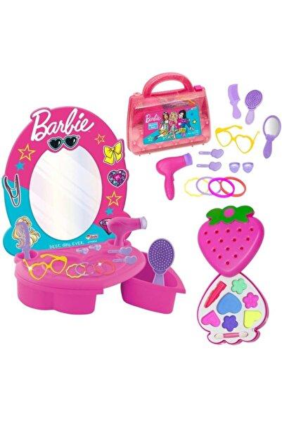 Barbie Güzellik Seti + Makyaj Seti+ Barbıe Güzellik Çantası 3'lü Set Kız Oyuncak Depomiks