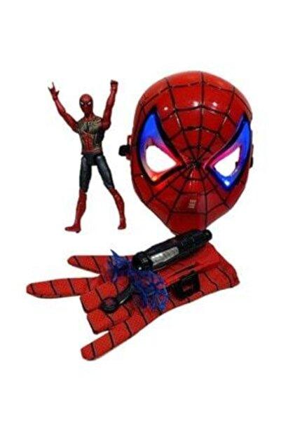 SPIDERMAN Ağ Atan Eldiven Işıklı Maske 18 Cm Işıklı Figür 3 Lü Set Oyuncak