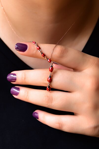 Papatya Silver 925 Ayar Gümüş Rose Kaplama Akışlı Uğur Böceği Kadın Kolye