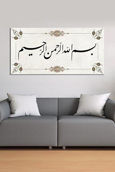 Morfil Sanat Besmele Talik Formda Dini Islami Hat Kanvas Tablo