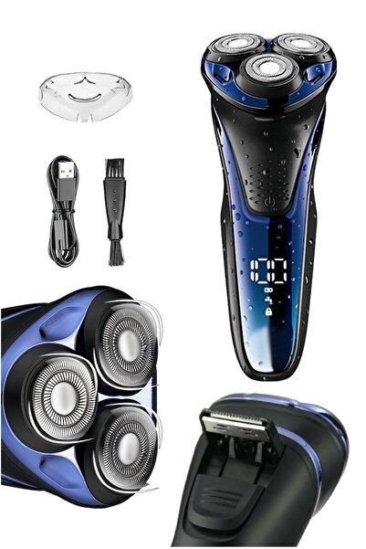 yopigo V-306 Aqua Deep Blue Touch Islak & Kuru Şarjlı Ipx7 Su Geçirmez Tıraş Makinesi Günlük Sıfır Tıraş