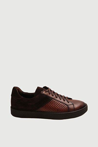 Male Industry Taba Örgü Dokulu Deri Erkek Sneaker