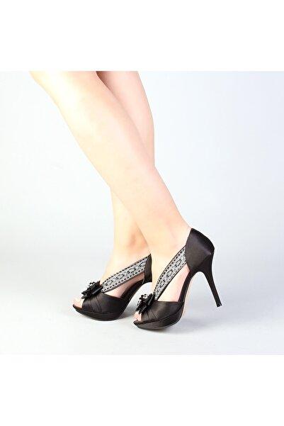 Markalik Siyah Kumaş Platform Topuk Abiye Ayakkabı