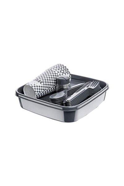 Titiz 32 Parça Piknik Seti İçiçe Geçebilen Çatal+Kaşık+Bıçaklı (Gri Renk)
