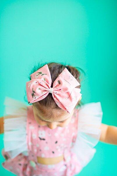 PixyLove Pembe Kız Bebek Bandana Fiyonklu Poa Floral