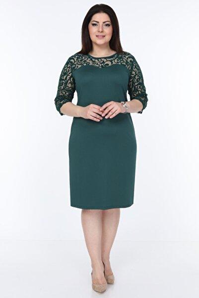 Moday Kadın Yeşil Floklu Elbise 15c-1034