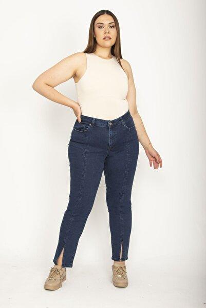 Şans Kadın Lacivert Kup Ve Paça Yırtmaç Detaylı Likralı 5 Cep Kot Pantolon 65N26525