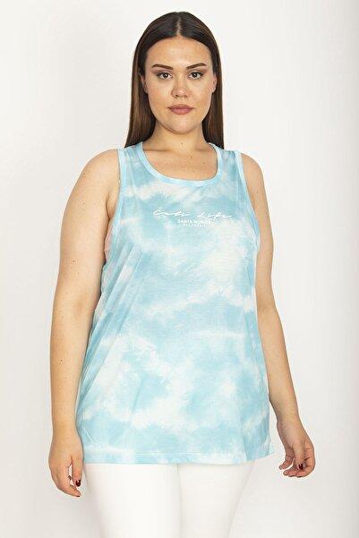 Şans Kadın Mavi Batik Desenli Ön Baskılı Bluz 65N26599