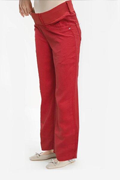Gaiamom Kırmızı Keten Hamile Pantolon