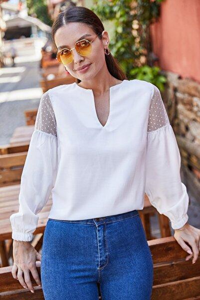 armonika Kadın Beyaz V Yaka Kolu Tüllü Balonlu Bluz ARM-20K001038