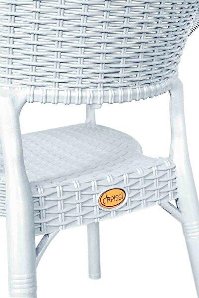 Sadık Plastik SP Capissi Bambu  Beyaz Rattan Kollu Sandalye Koltuk