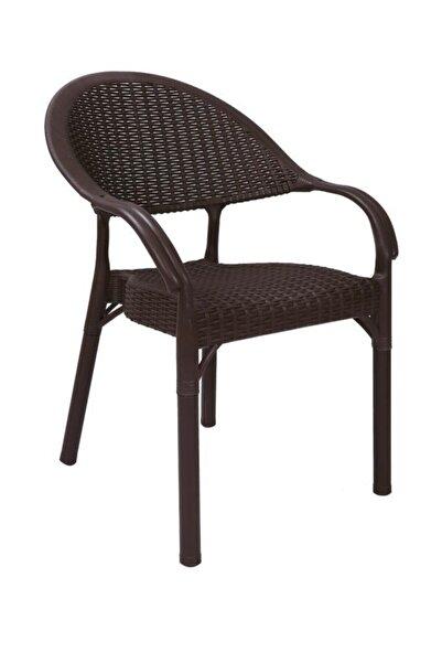 Sadık Plastik SP Capissi Bambu Rattan Kollu Sandalye Koltuk Kahve