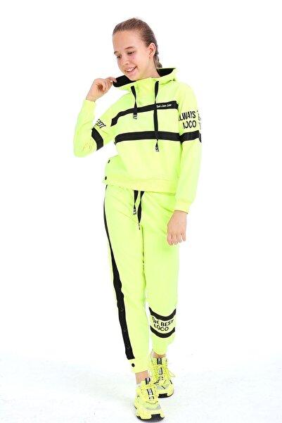 Enisena Kız Çocuk Neon Sarı Kapşonlu Sweatshirt Takım 1703