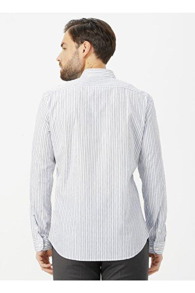 Kip Slim Fit Çizgili Lacivert Gömlek