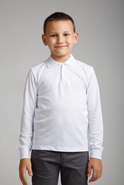 Dragora Uzun Kollu Polo Yaka Beyaz Penye