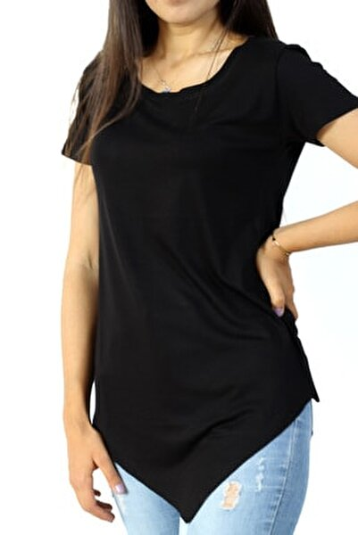 Kadın Siyah Asimetrik Bisiklet Yaka Tunik Tshirt
