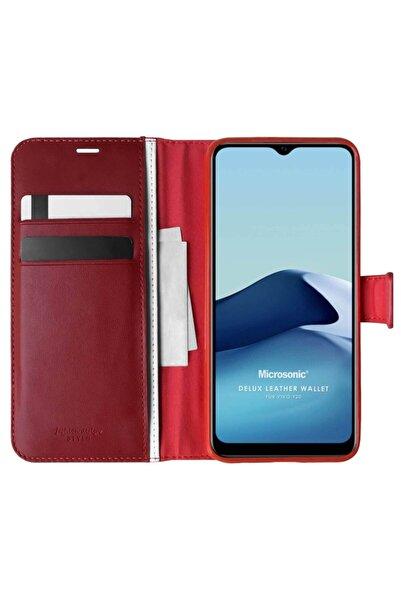 Microsonic Vivo Y20s Kılıf Delux Leather Wallet Kırmızı