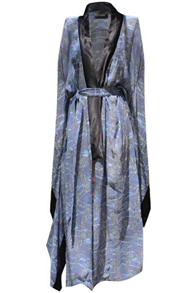 Bashaques Kadın Mavi Desenli Songbird Linen Kimono