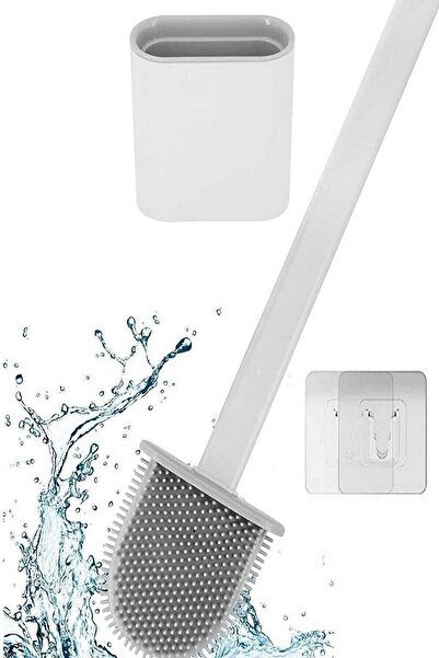 Tilbe Home Silikon Banyo Tuvalet Klozet Fırçası ve Tutucu Set