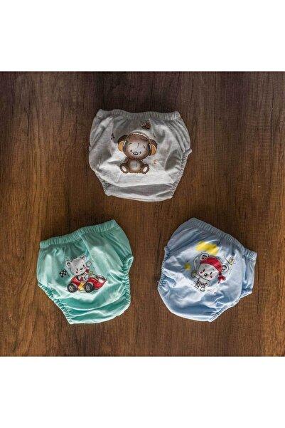 GİSEL TEKSTİL Erkek Bebek Tuvalet Alıştırma Külot 3'lü Set No:2 (12-16KG)