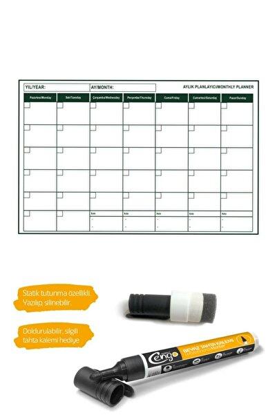 CNZ Pratik Mini Aylık Plan Çizelgesi -56x85 Cm Kağıt Tahta ( 2 Adet Silgili Kalem Hediye )