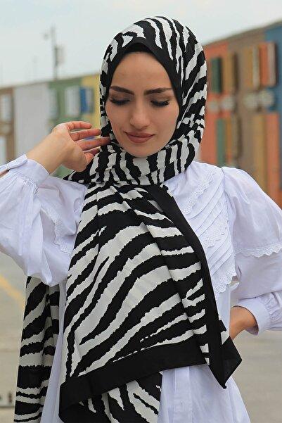 KETEN OFFİCİAL Medine Ipeği Siyah Zebra Desen