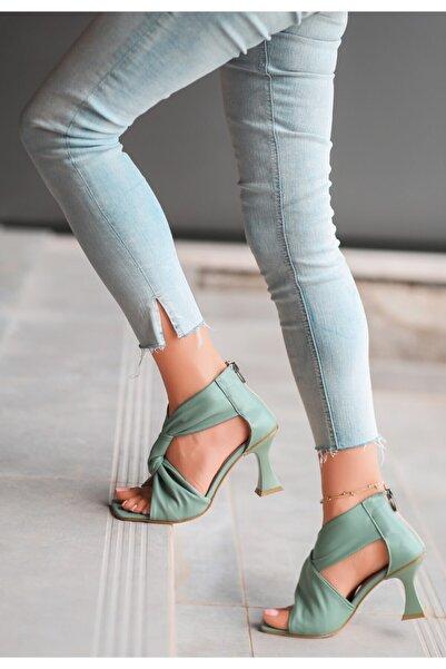 pabucmarketi Kadın Turkuaz Cilt Topuklu Ayakkabı