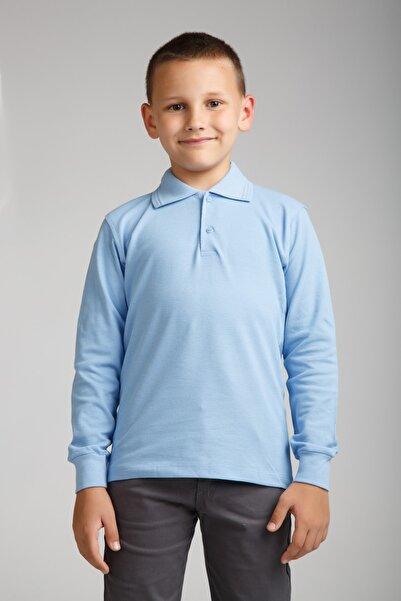 Dragora Uzun Kollu Polo Yaka Açık Mavi Penye