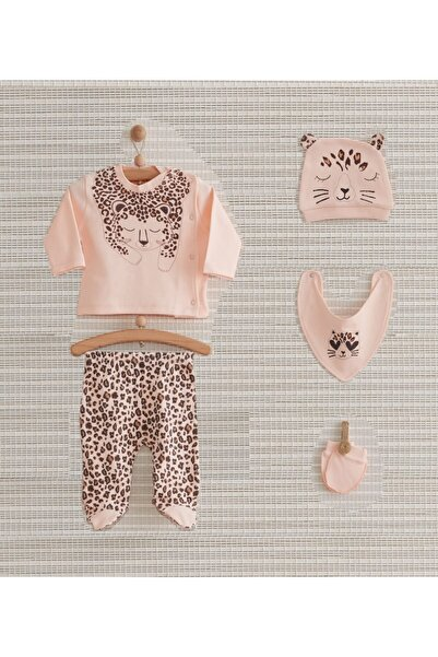 Nenny Baby Leopar Desenli Kız Bebek Hastane Çıkış Seti 5 Parça