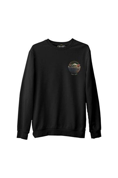 Lord T-Shirt Star Wars - Baby Yoda Siyah Erkek Kalın Sweatshirt