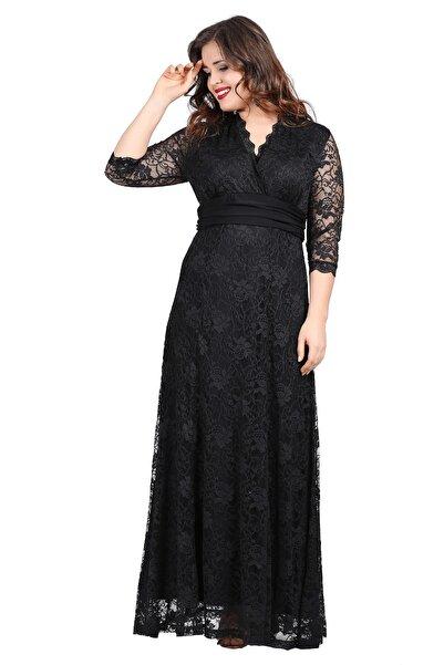 ANGELINO Kadın Siyah Komple Güpür Uzun Elbise KL26001