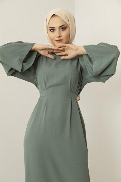 Meri Store Kendinden Kemerli Yeşil Elbise