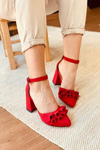 Stepsup Store Kadın Kırmızı Süet Fırfırlı Topuklu Ayakkabı