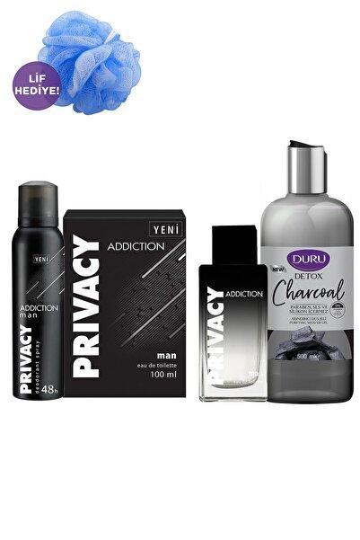 Privacy Ve Duru Duş Lifi Hediyeli Set 100ml Erkek Edt Parfüm Ve 150ml Deodorant Ve 500ml Duş Jeli