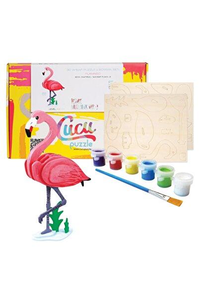 CUCU PUZZLE - 3d Ahşap Puzzle & Boyama Seti - Flamingo