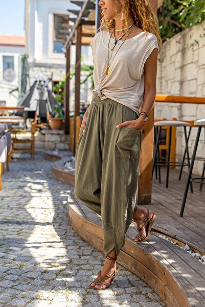 Güneşkızı Kadın Haki Yıkamalı Keten Cepli Beli Lastikli Şalvar Pantolon GK-CCK58048ND