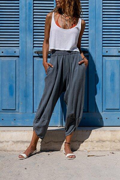Güneşkızı Kadın Gri Yıkamalı Keten Cepli Beli Lastikli Şalvar Pantolon GK-CCK58048ND