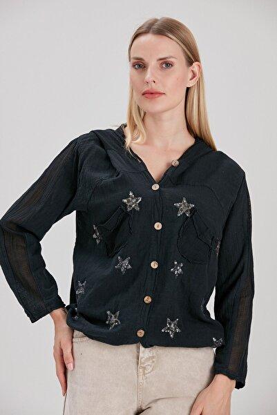 Y-London Kadın Siyah Yıldız Pul İşlemeli Tahta Düğmeli Ceket YL-CE99923
